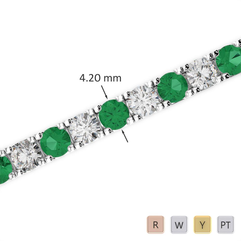 Gold / Platinum Round Cut Emerald and Diamond Bracelet AGBRL-1022