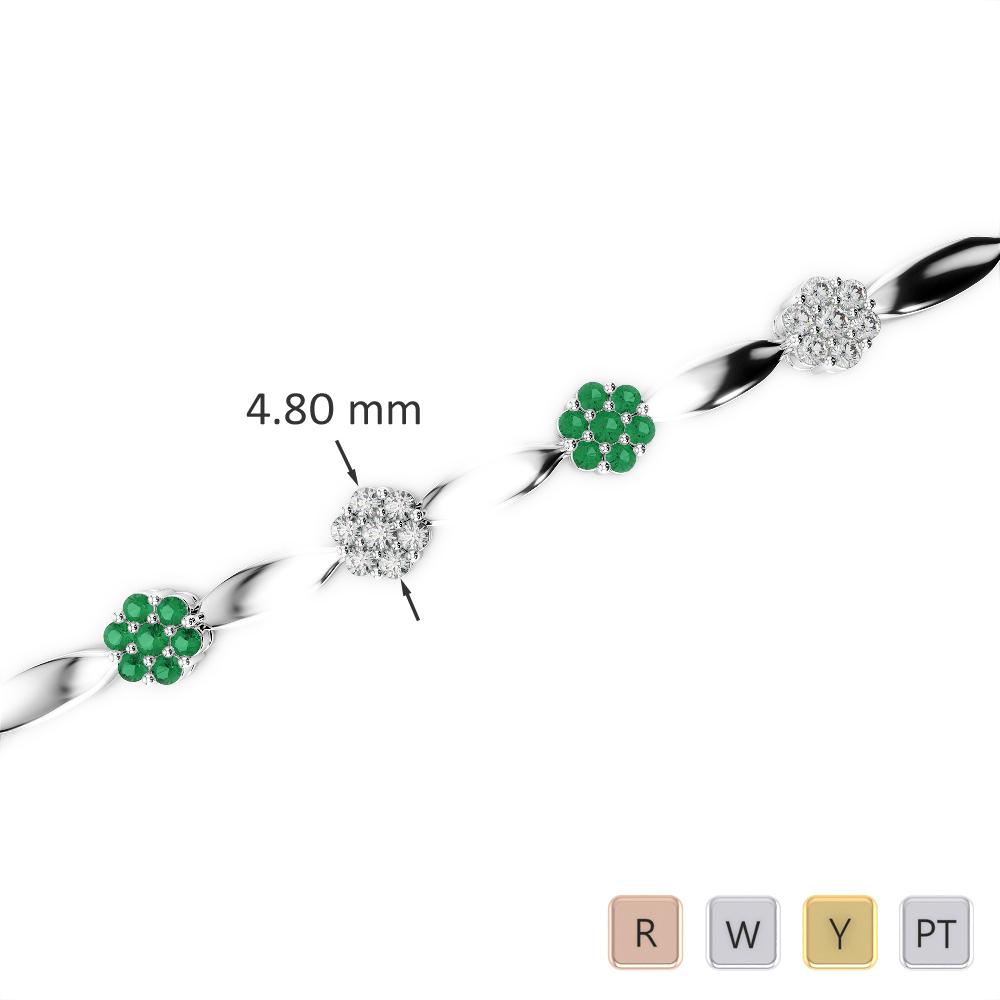 Gold / Platinum Round Cut Emerald and Diamond Bracelet AGBRL-1029