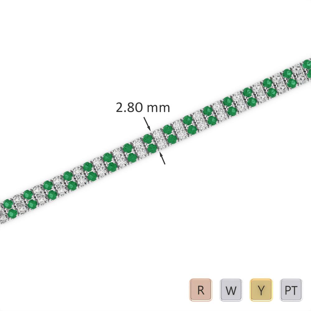 Gold / Platinum Round Cut Emerald and Diamond Bracelet AGBRL-1030