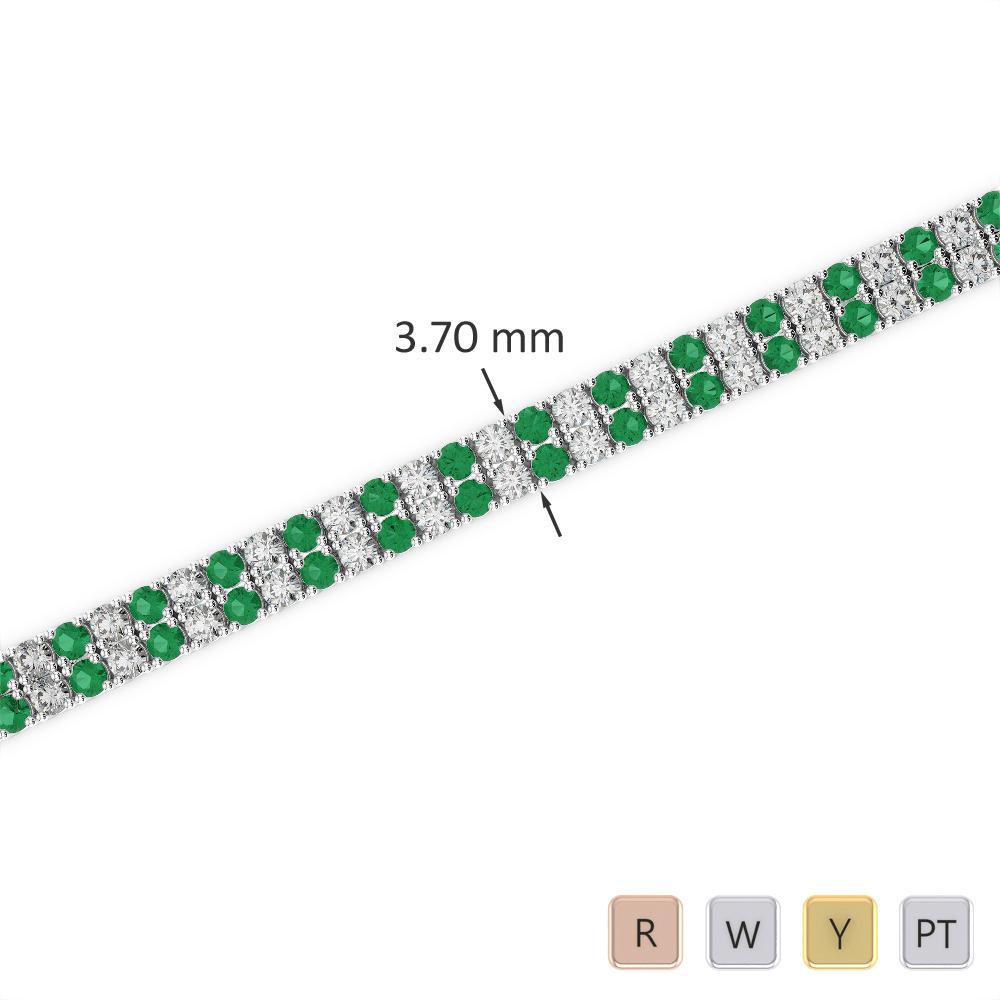 Gold / Platinum Round Cut Emerald and Diamond Bracelet AGBRL-1031