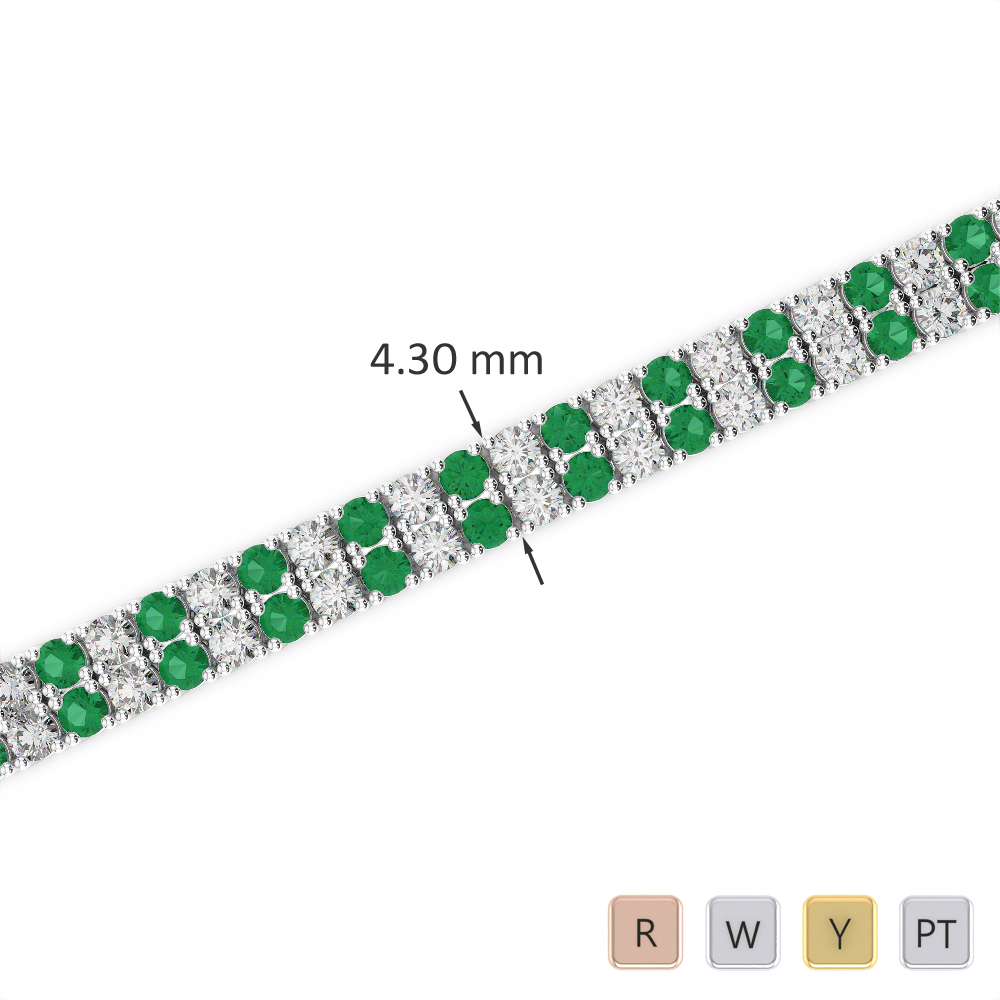 Gold / Platinum Round Cut Emerald and Diamond Bracelet AGBRL-1032