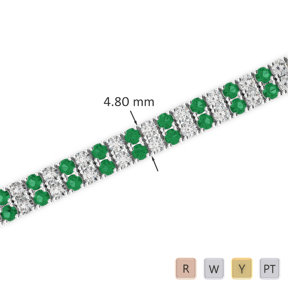 Gold / Platinum Round Cut Emerald and Diamond Bracelet AGBRL-1033