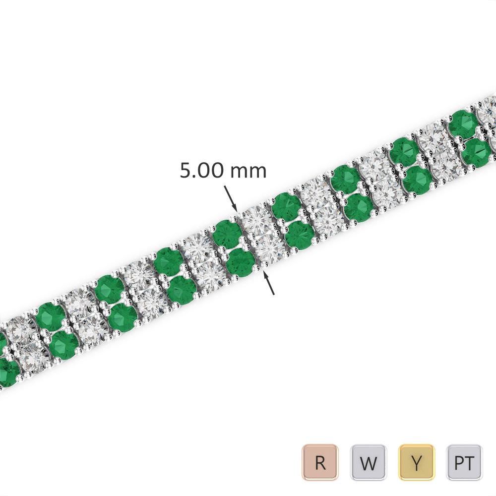 Gold / Platinum Round Cut Emerald and Diamond Bracelet AGBRL-1034