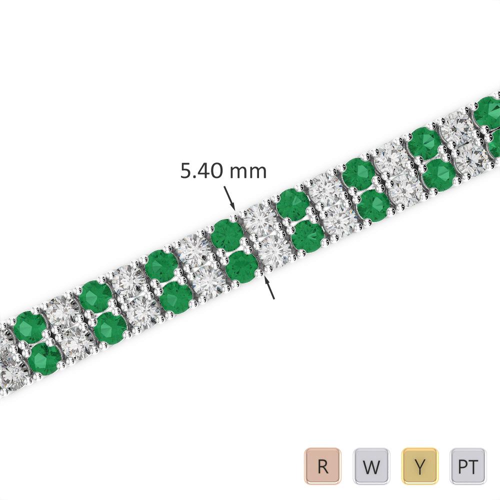 Gold / Platinum Round Cut Emerald and Diamond Bracelet AGBRL-1035