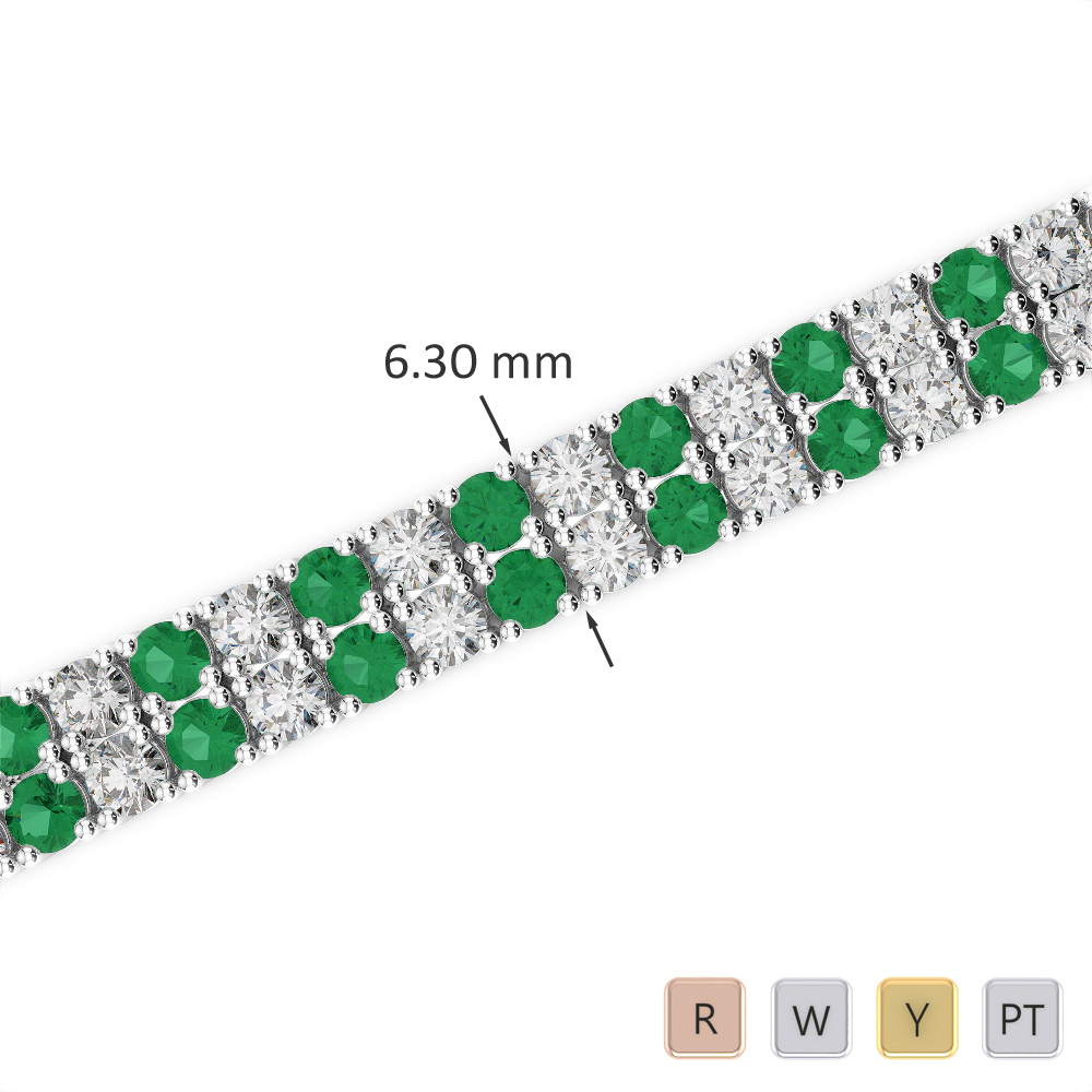 Gold / Platinum Round Cut Emerald and Diamond Bracelet AGBRL-1037