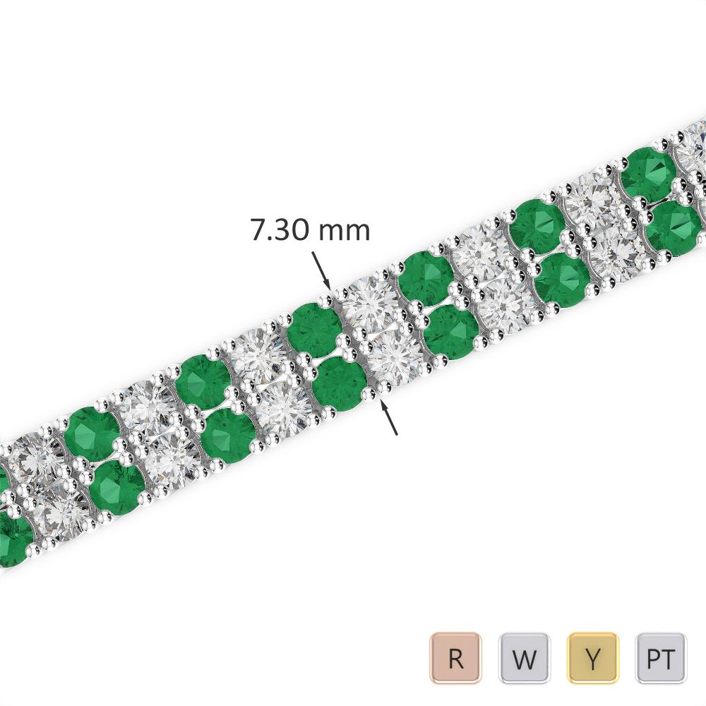 Gold / Platinum Round Cut Emerald and Diamond Bracelet AGBRL-1038