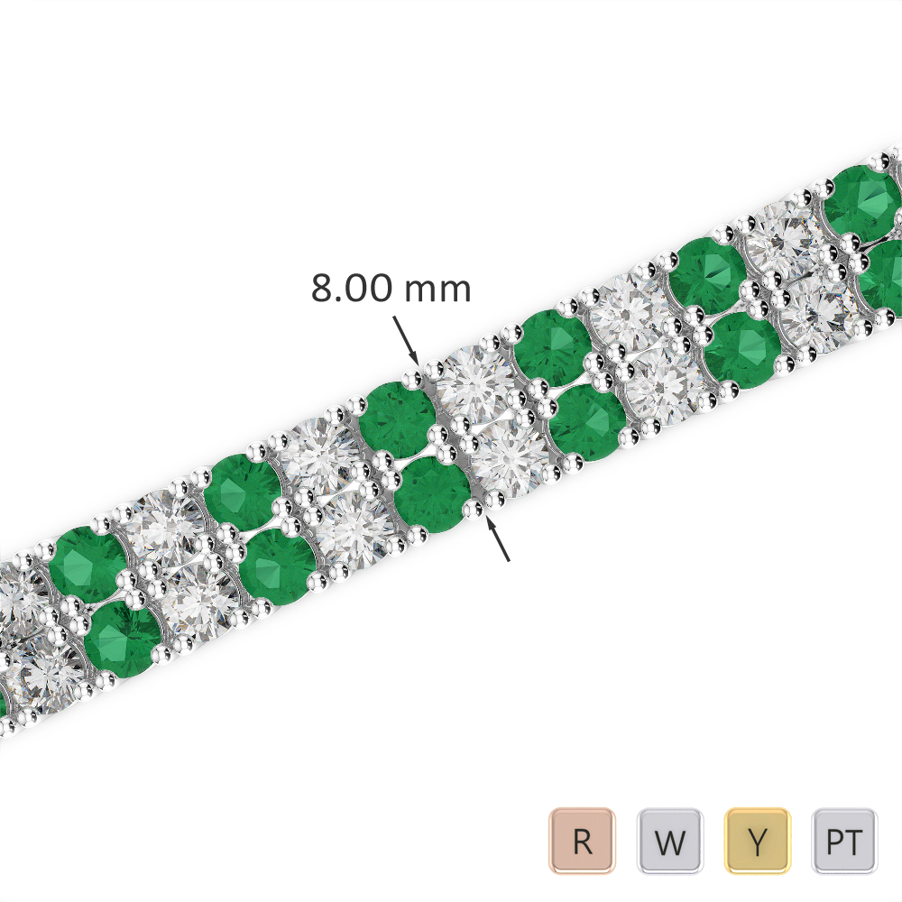 Gold / Platinum Round Cut Emerald and Diamond Bracelet AGBRL-1039