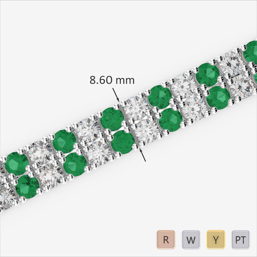 Gold / Platinum Round Cut Emerald and Diamond Bracelet AGBRL-1040