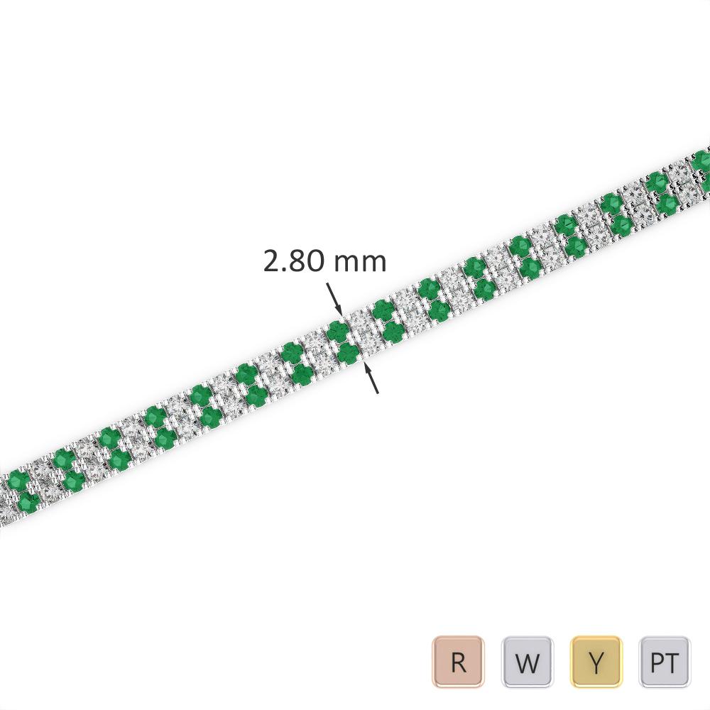 Gold / Platinum Round Cut Emerald and Diamond Bracelet AGBRL-1041