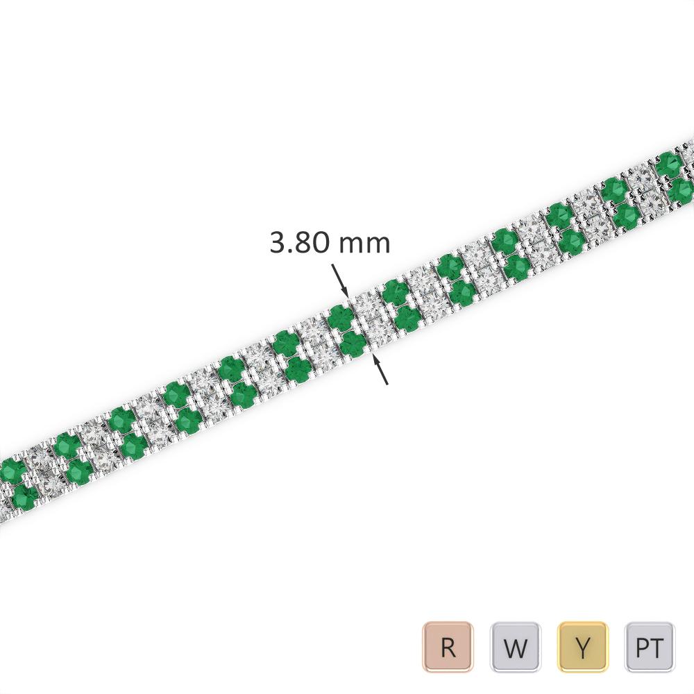 Gold / Platinum Round Cut Emerald and Diamond Bracelet AGBRL-1042