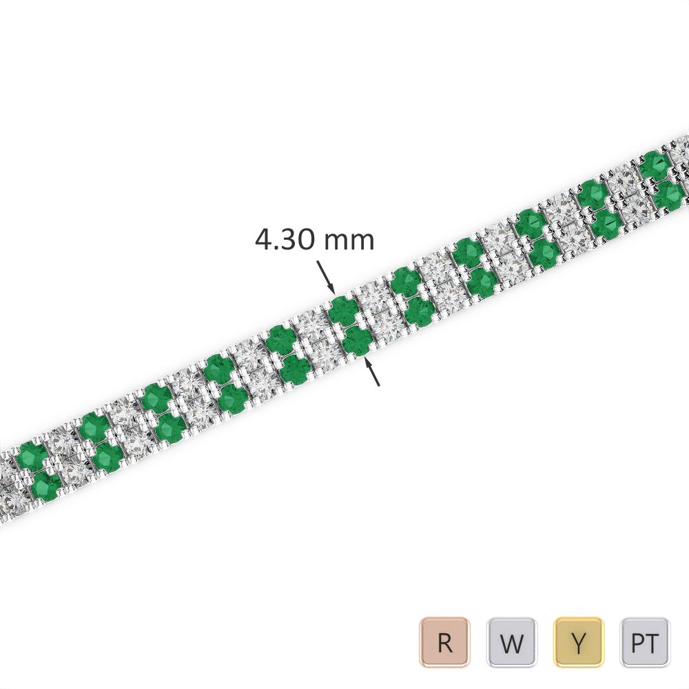 Gold / Platinum Round Cut Emerald and Diamond Bracelet AGBRL-1043