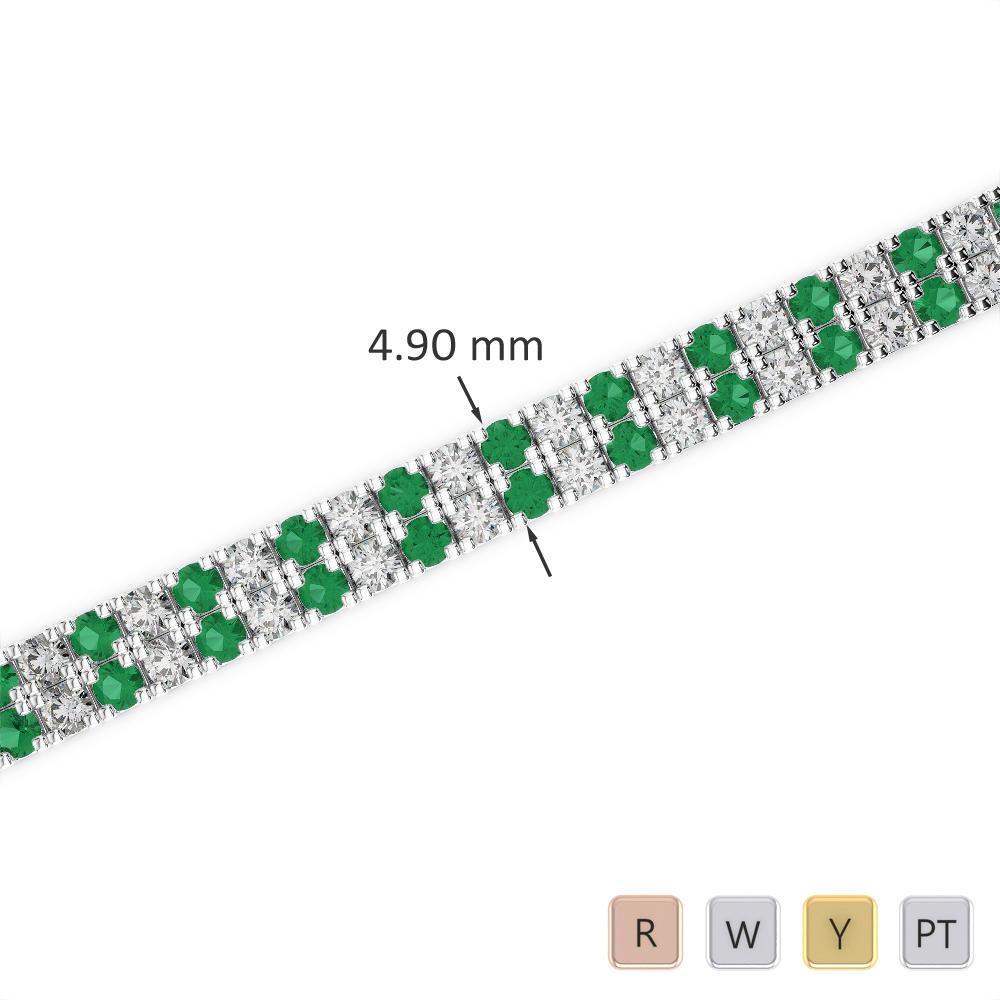 Gold / Platinum Round Cut Emerald and Diamond Bracelet AGBRL-1044