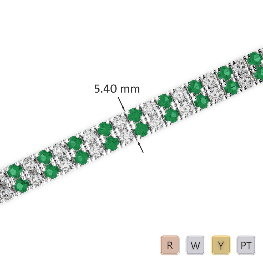 Gold / Platinum Round Cut Emerald and Diamond Bracelet AGBRL-1046