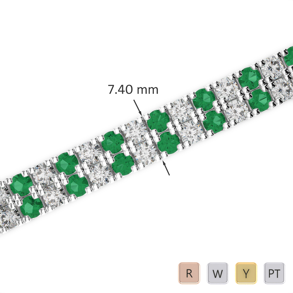 Gold / Platinum Round Cut Emerald and Diamond Bracelet AGBRL-1049