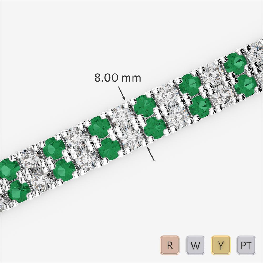 Gold / Platinum Round Cut Emerald and Diamond Bracelet AGBRL-1050