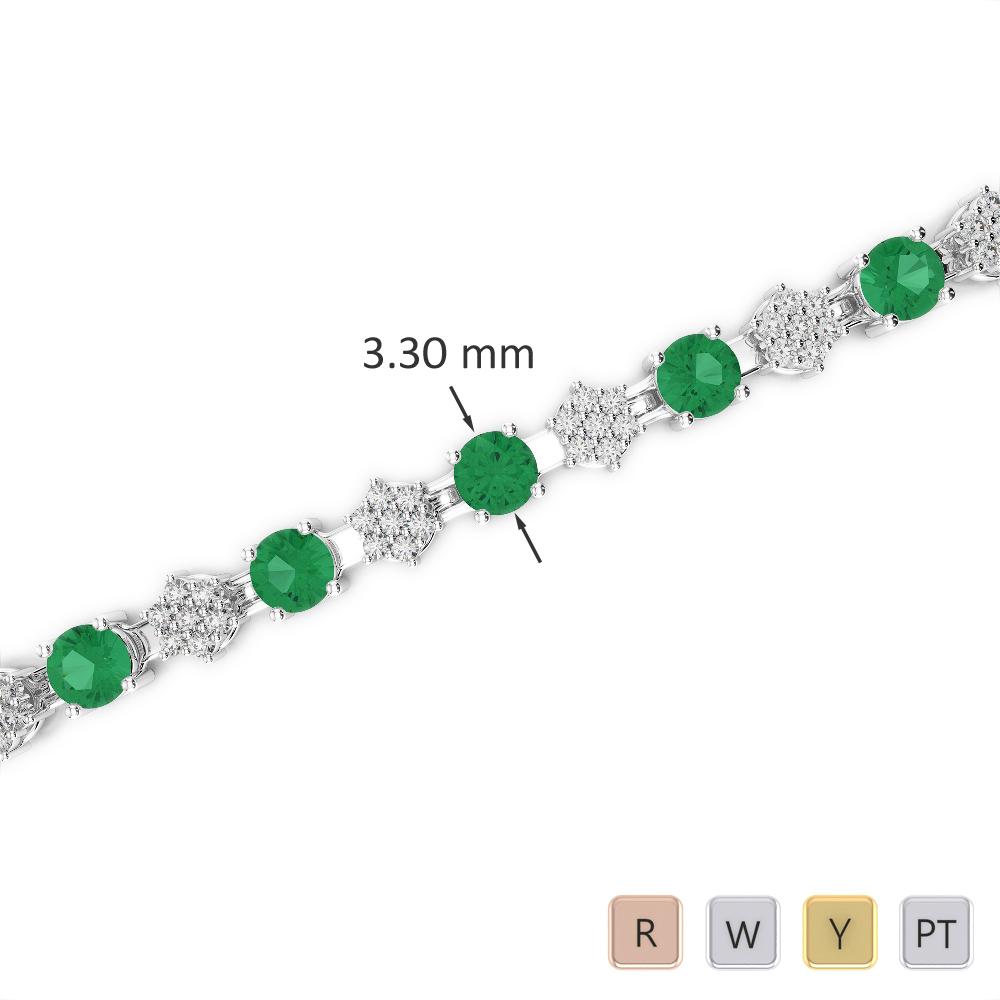 Gold / Platinum Round Cut Emerald and Diamond Bracelet AGBRL-1052