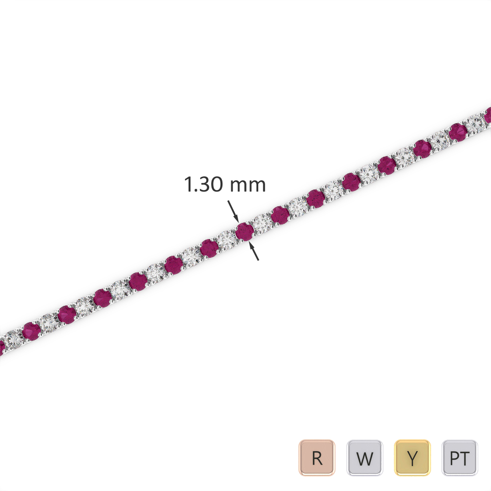 Gold / Platinum Round Cut Ruby and Diamond Bracelet AGBRL-1001