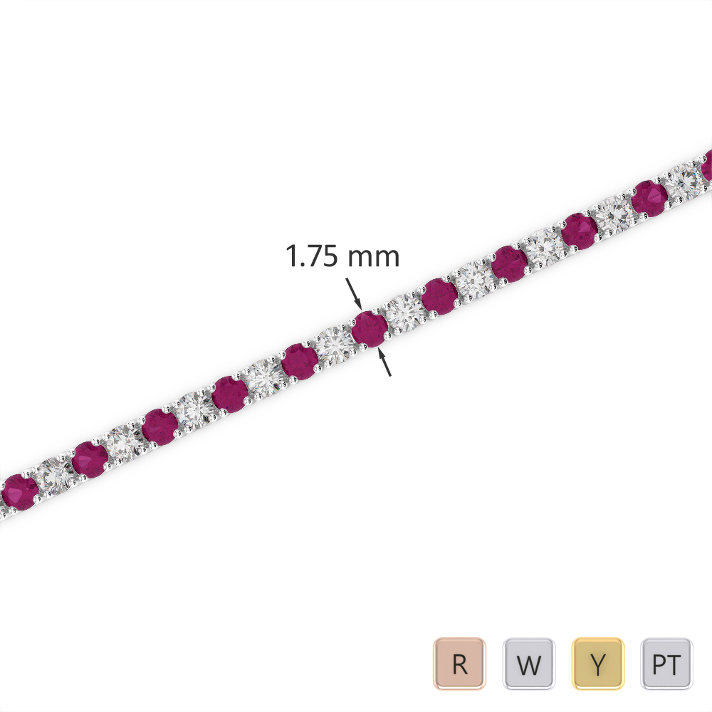 Gold / Platinum Round Cut Ruby and Diamond Bracelet AGBRL-1002