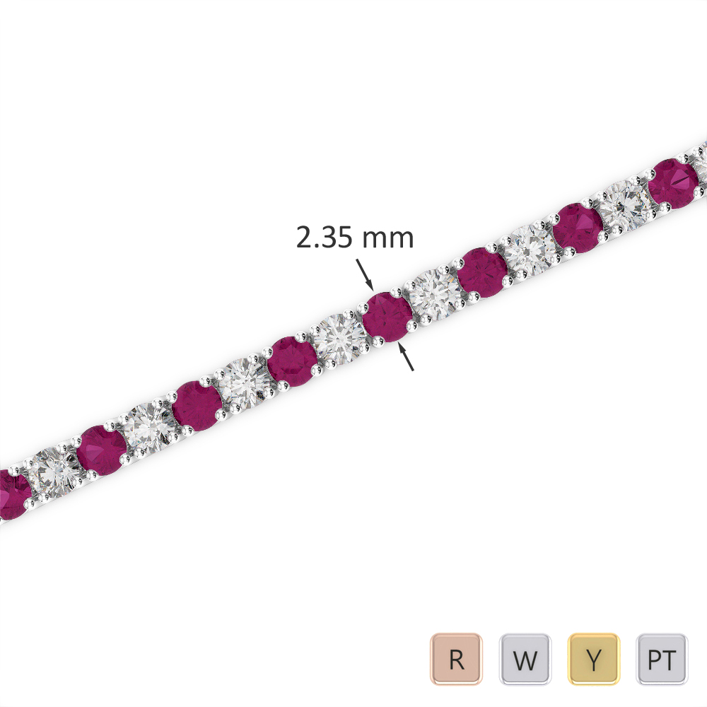 Gold / Platinum Round Cut Ruby and Diamond Bracelet AGBRL-1005