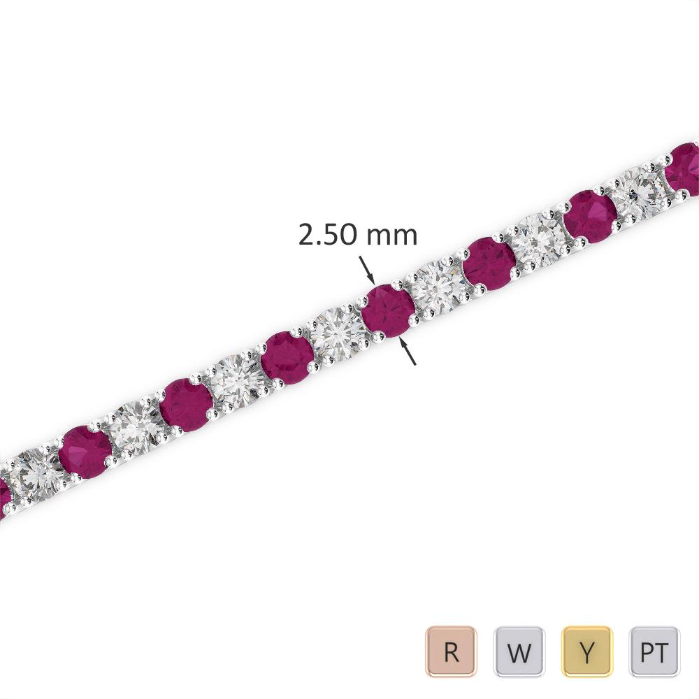 Gold / Platinum Round Cut Ruby and Diamond Bracelet AGBRL-1006