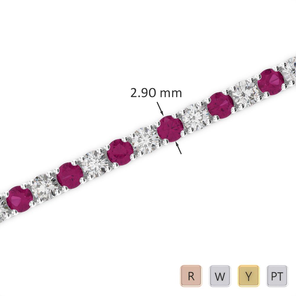 Gold / Platinum Round Cut Ruby and Diamond Bracelet AGBRL-1008