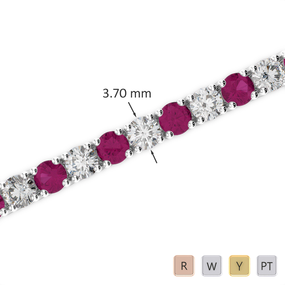 Gold / Platinum Round Cut Ruby and Diamond Bracelet AGBRL-1010