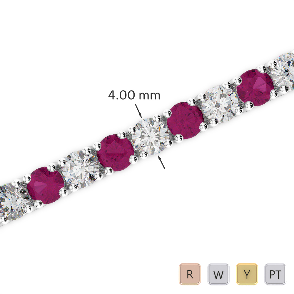 Gold / Platinum Round Cut Ruby and Diamond Bracelet AGBRL-1011