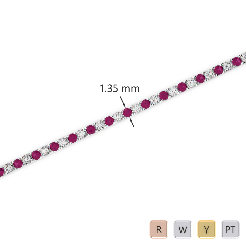 Gold / Platinum Round Cut Ruby and Diamond Bracelet AGBRL-1012