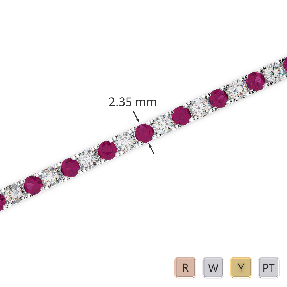 Gold / Platinum Round Cut Ruby and Diamond Bracelet AGBRL-1015