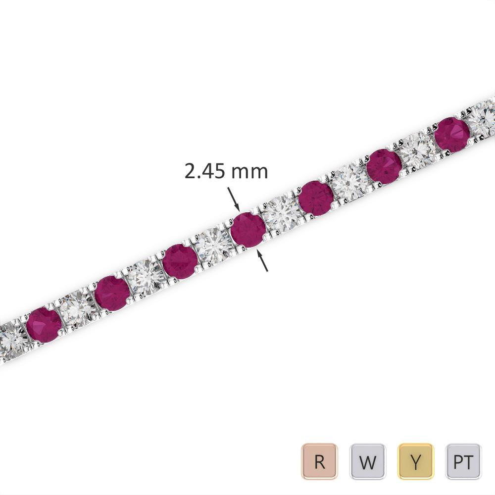 Gold / Platinum Round Cut Ruby and Diamond Bracelet AGBRL-1016
