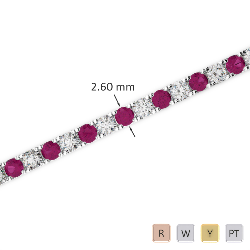 Gold / Platinum Round Cut Ruby and Diamond Bracelet AGBRL-1017