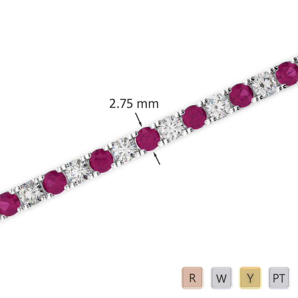 Gold / Platinum Round Cut Ruby and Diamond Bracelet AGBRL-1018