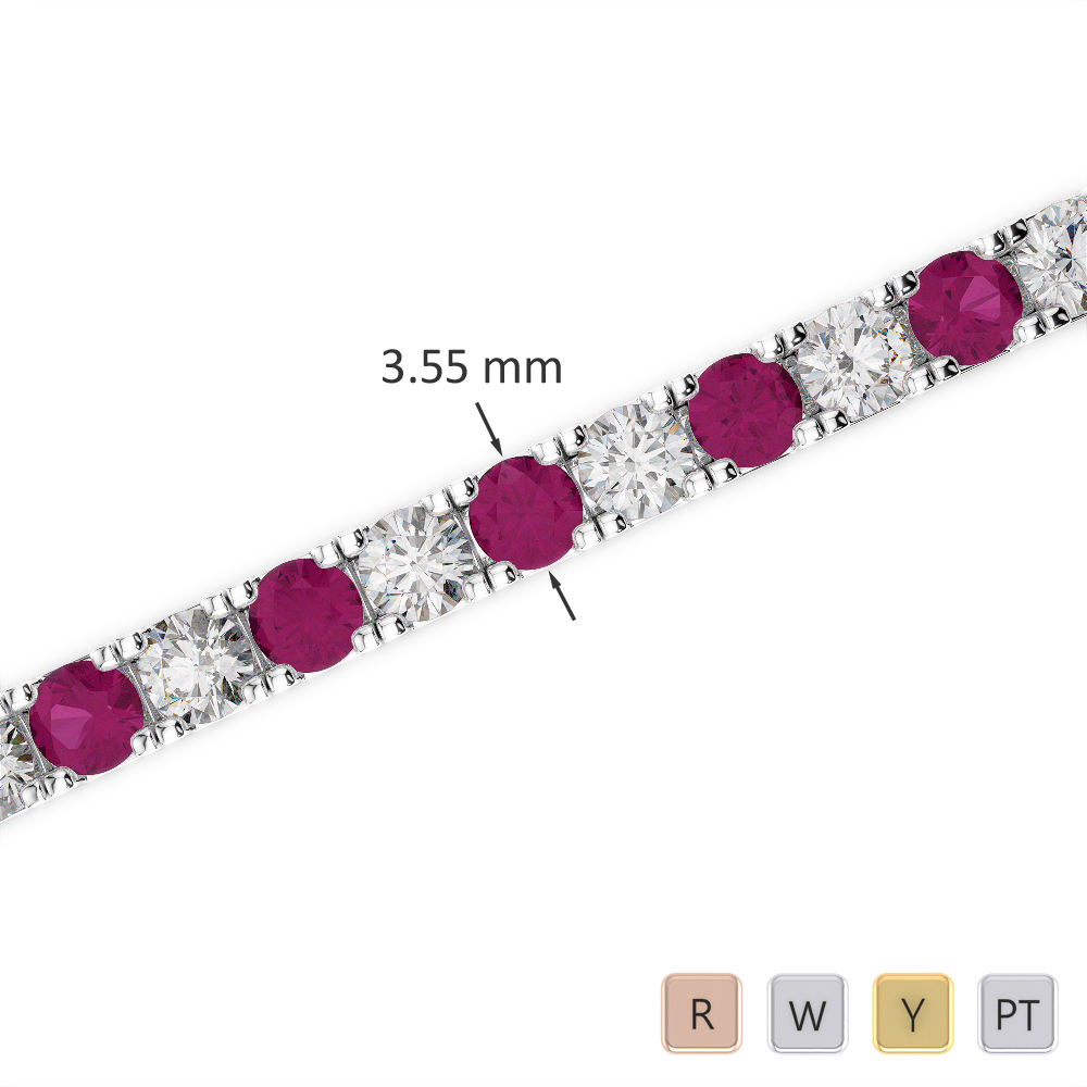 Gold / Platinum Round Cut Ruby and Diamond Bracelet AGBRL-1020