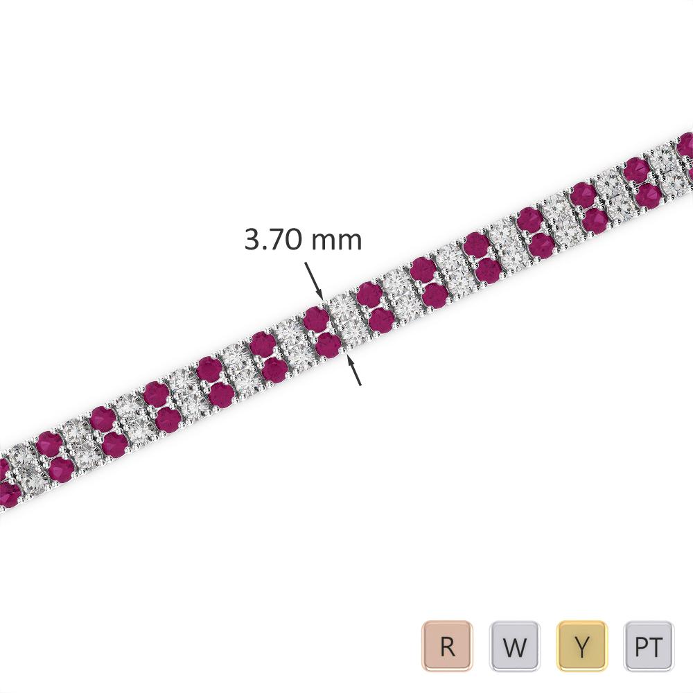Gold / Platinum Round Cut Ruby and Diamond Bracelet AGBRL-1031