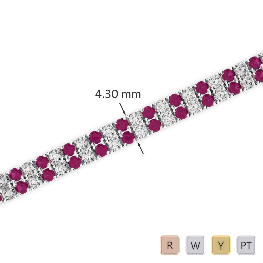 Gold / Platinum Round Cut Ruby and Diamond Bracelet AGBRL-1032