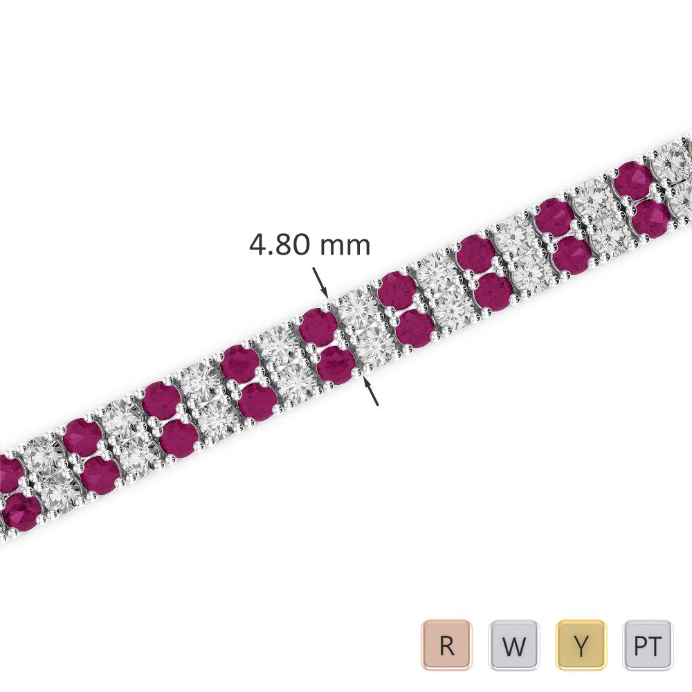 Gold / Platinum Round Cut Ruby and Diamond Bracelet AGBRL-1033