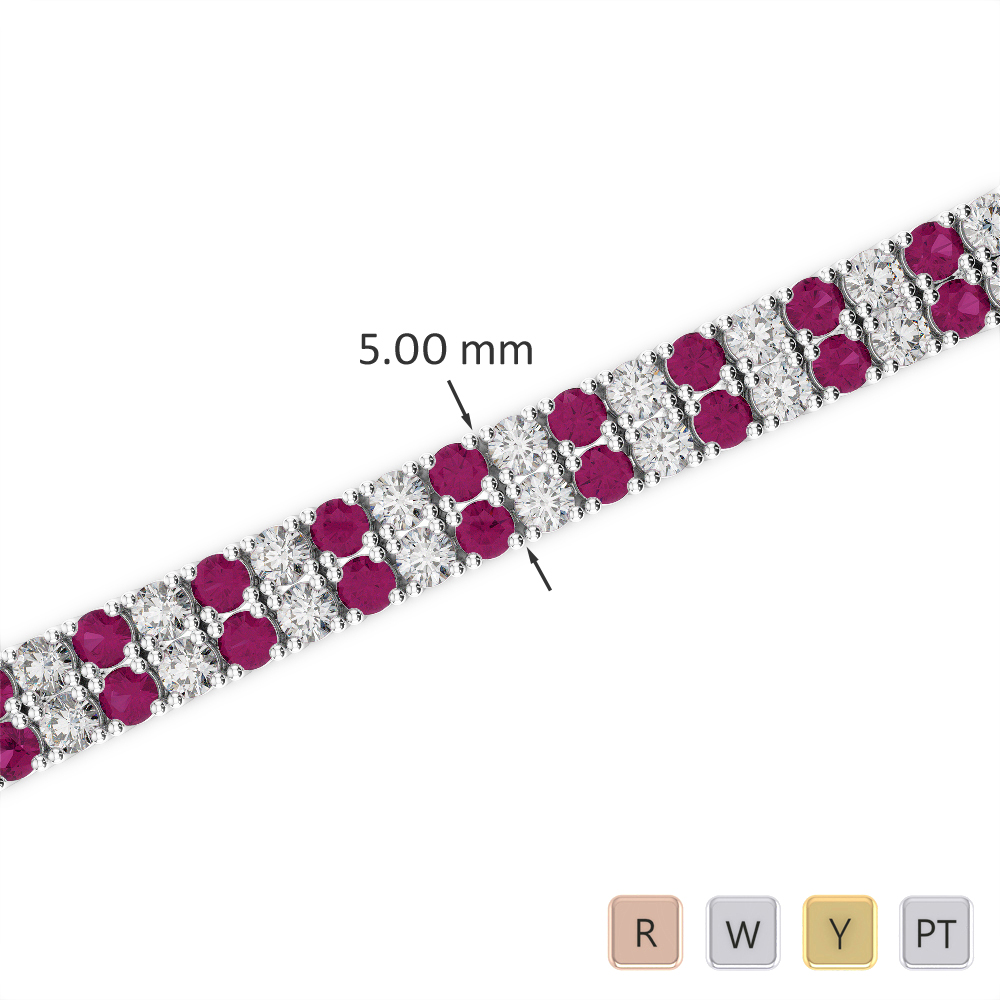 Gold / Platinum Round Cut Ruby and Diamond Bracelet AGBRL-1034