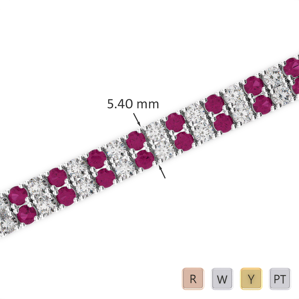 Gold / Platinum Round Cut Ruby and Diamond Bracelet AGBRL-1035