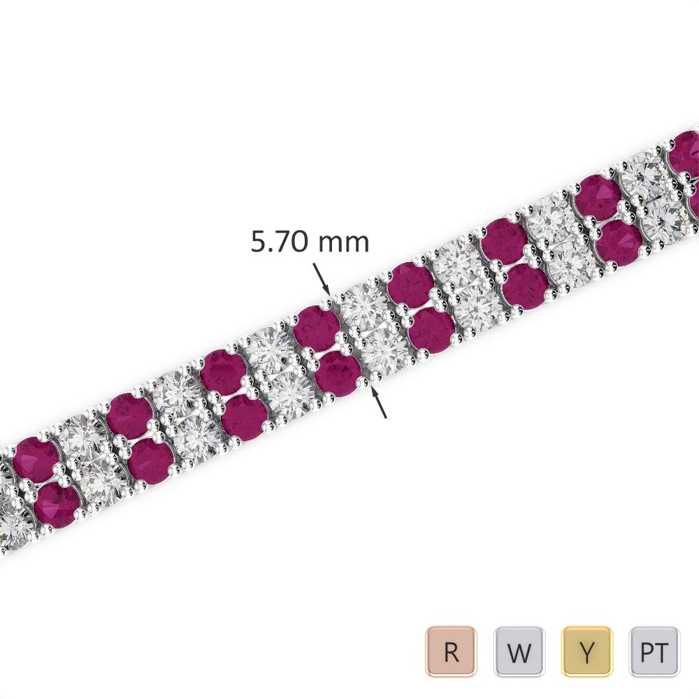 Gold / Platinum Round Cut Ruby and Diamond Bracelet AGBRL-1036