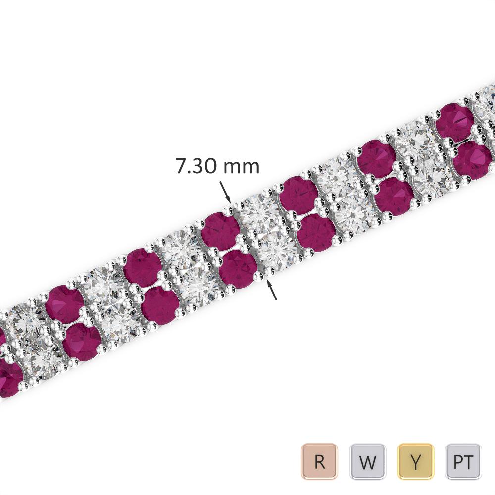 Gold / Platinum Round Cut Ruby and Diamond Bracelet AGBRL-1038