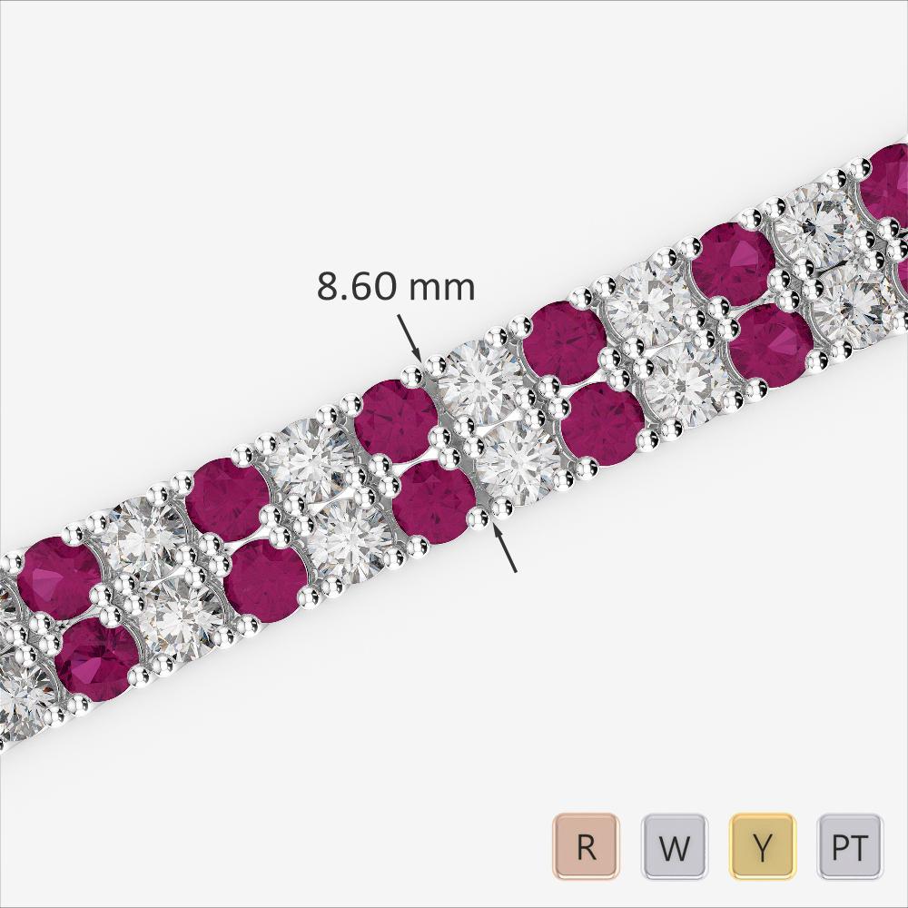Gold / Platinum Round Cut Ruby and Diamond Bracelet AGBRL-1040
