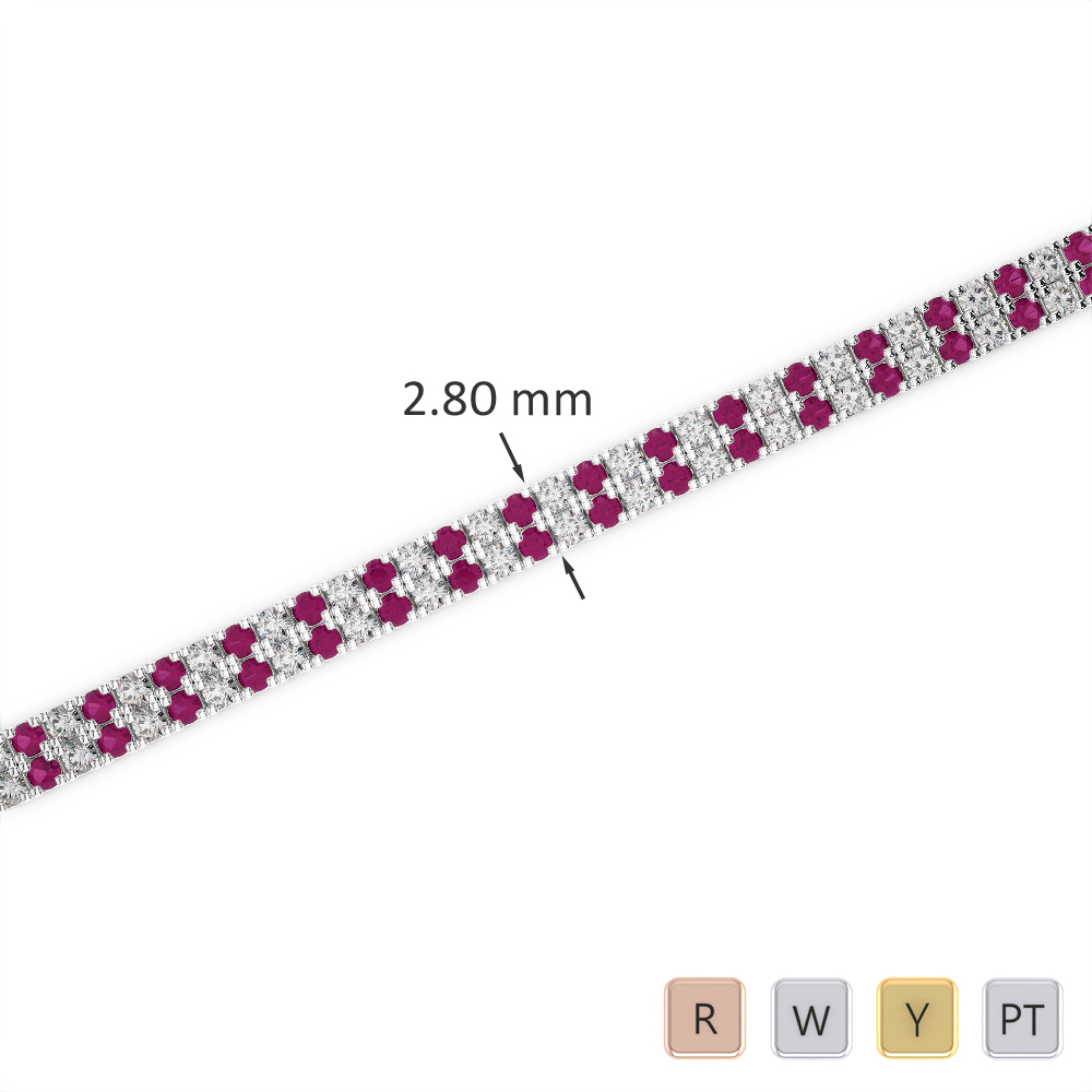 Gold / Platinum Round Cut Ruby and Diamond Bracelet AGBRL-1041