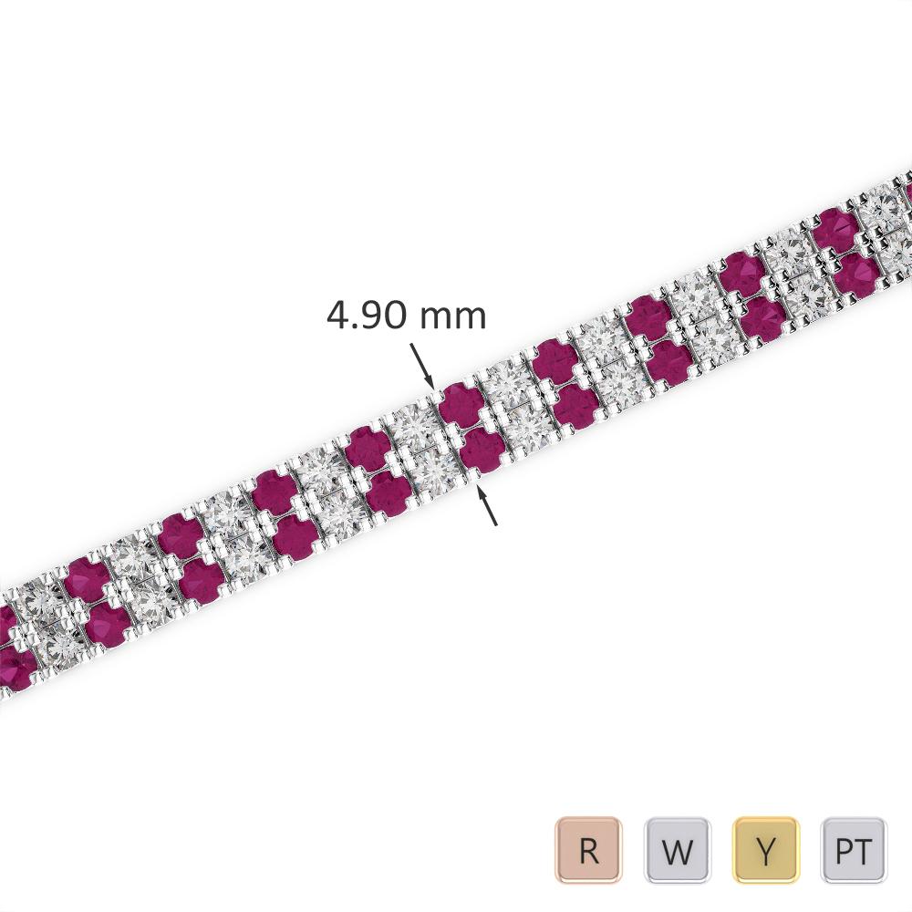 Gold / Platinum Round Cut Ruby and Diamond Bracelet AGBRL-1044