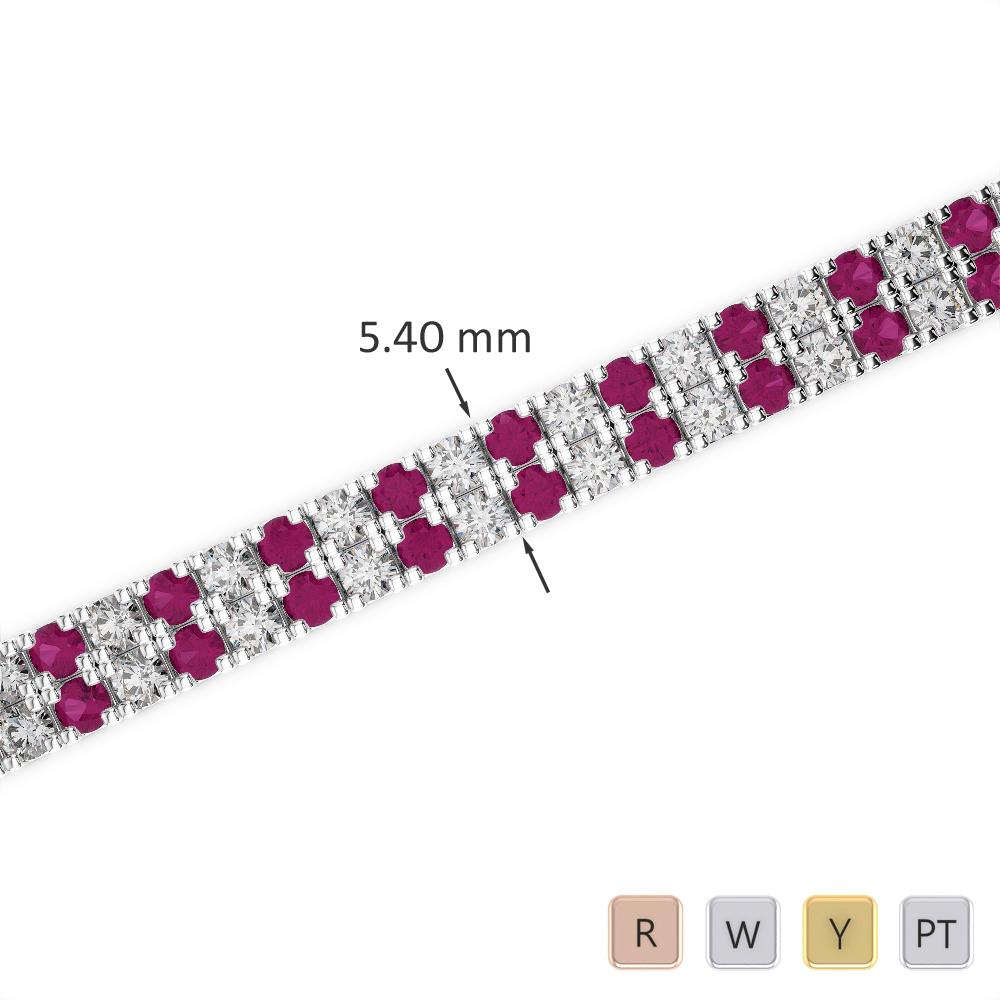 Gold / Platinum Round Cut Ruby and Diamond Bracelet AGBRL-1046