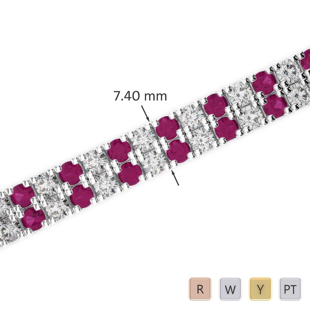 Gold / Platinum Round Cut Ruby and Diamond Bracelet AGBRL-1049
