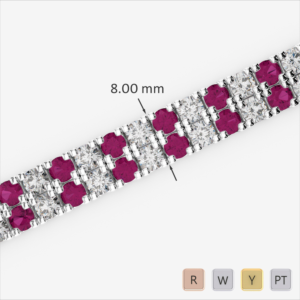 Gold / Platinum Round Cut Ruby and Diamond Bracelet AGBRL-1050