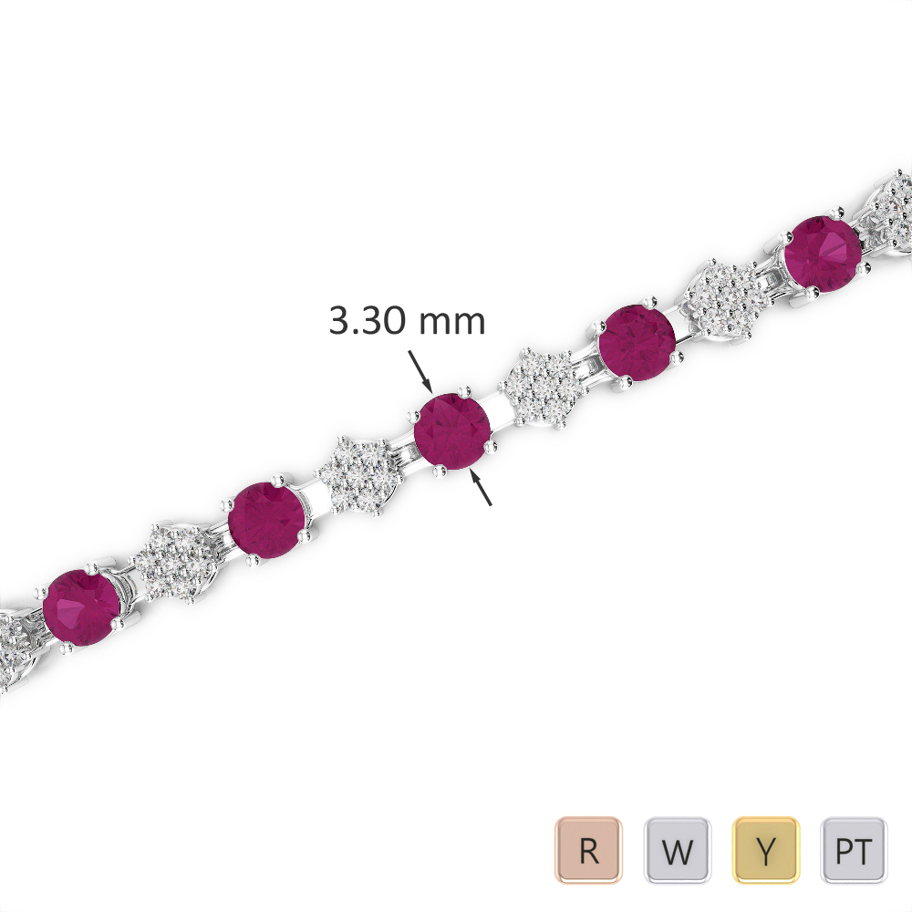 Gold / Platinum Round Cut Ruby and Diamond Bracelet AGBRL-1052