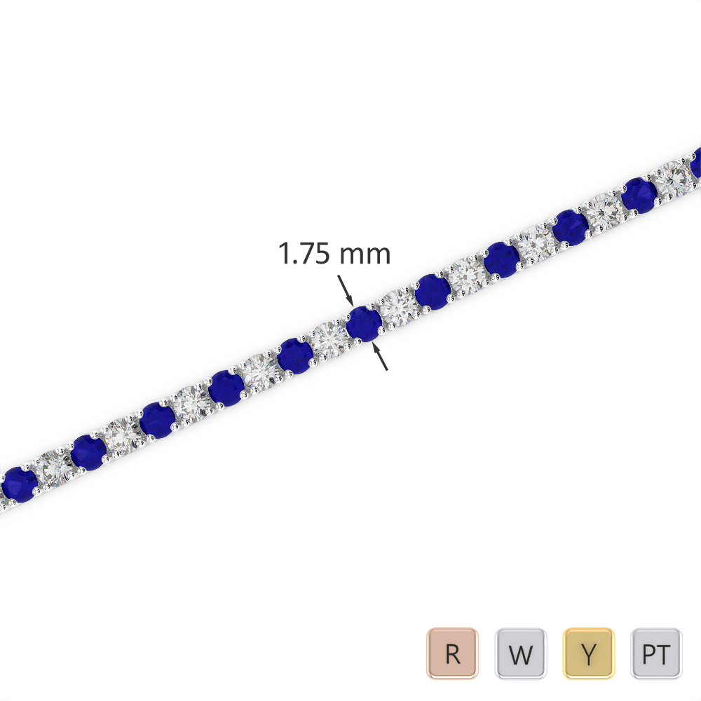 Gold / Platinum Round Cut Sapphire and Diamond Bracelet AGBRL-1002