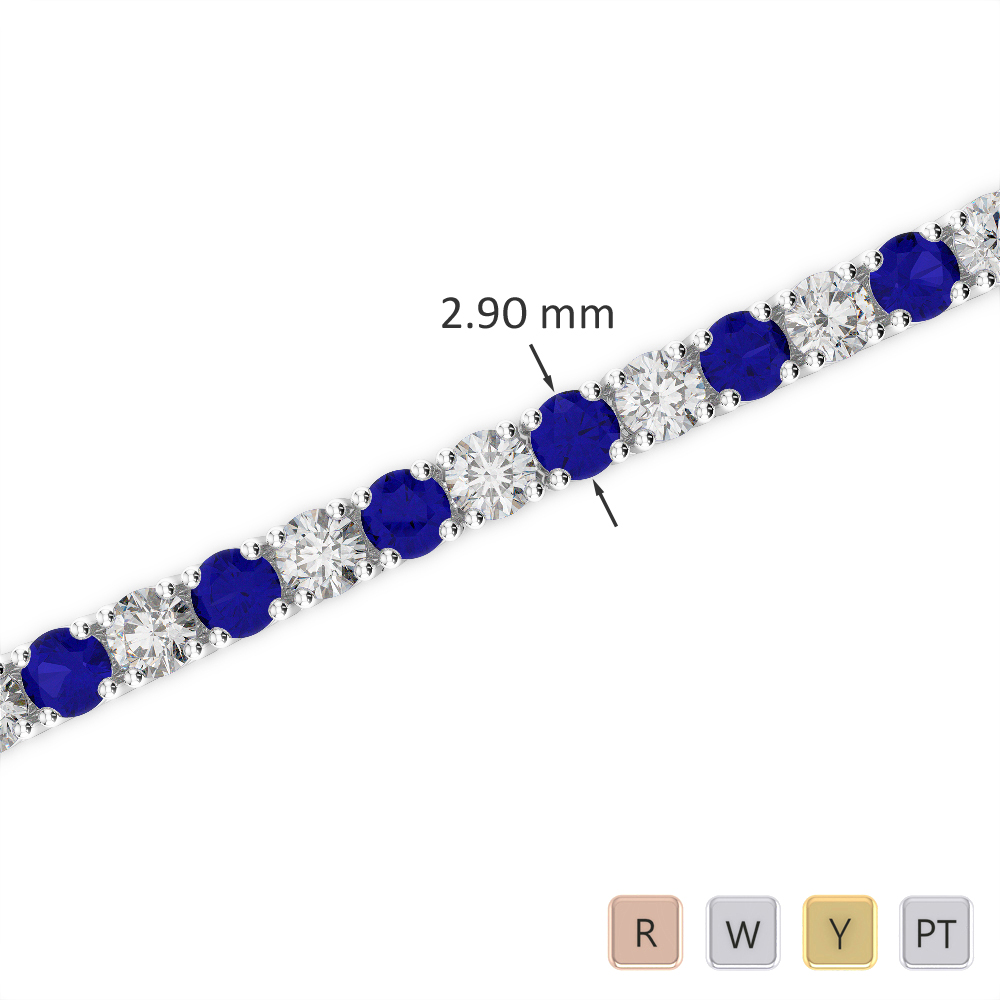 Gold / Platinum Round Cut Sapphire and Diamond Bracelet AGBRL-1008