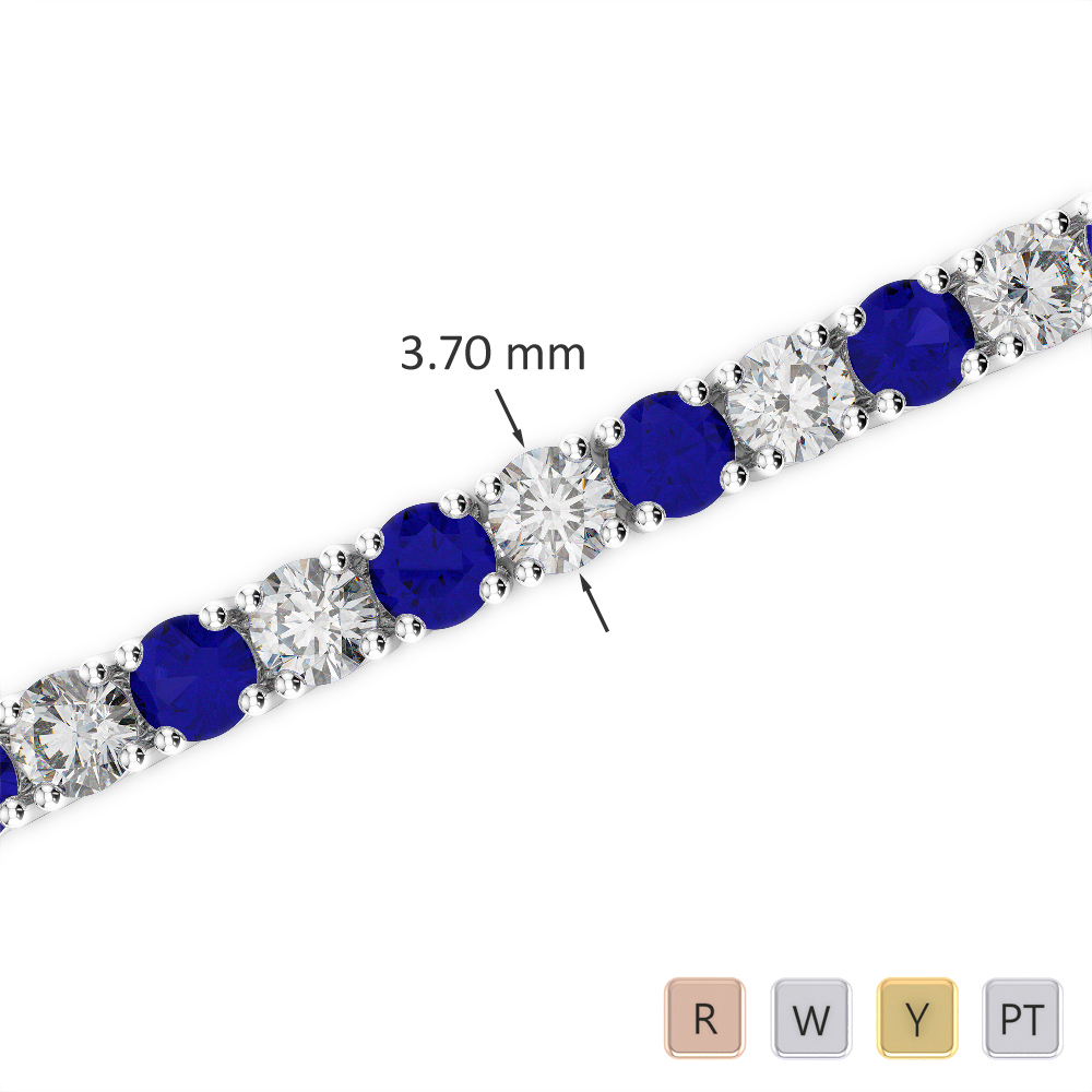Gold / Platinum Round Cut Sapphire and Diamond Bracelet AGBRL-1010